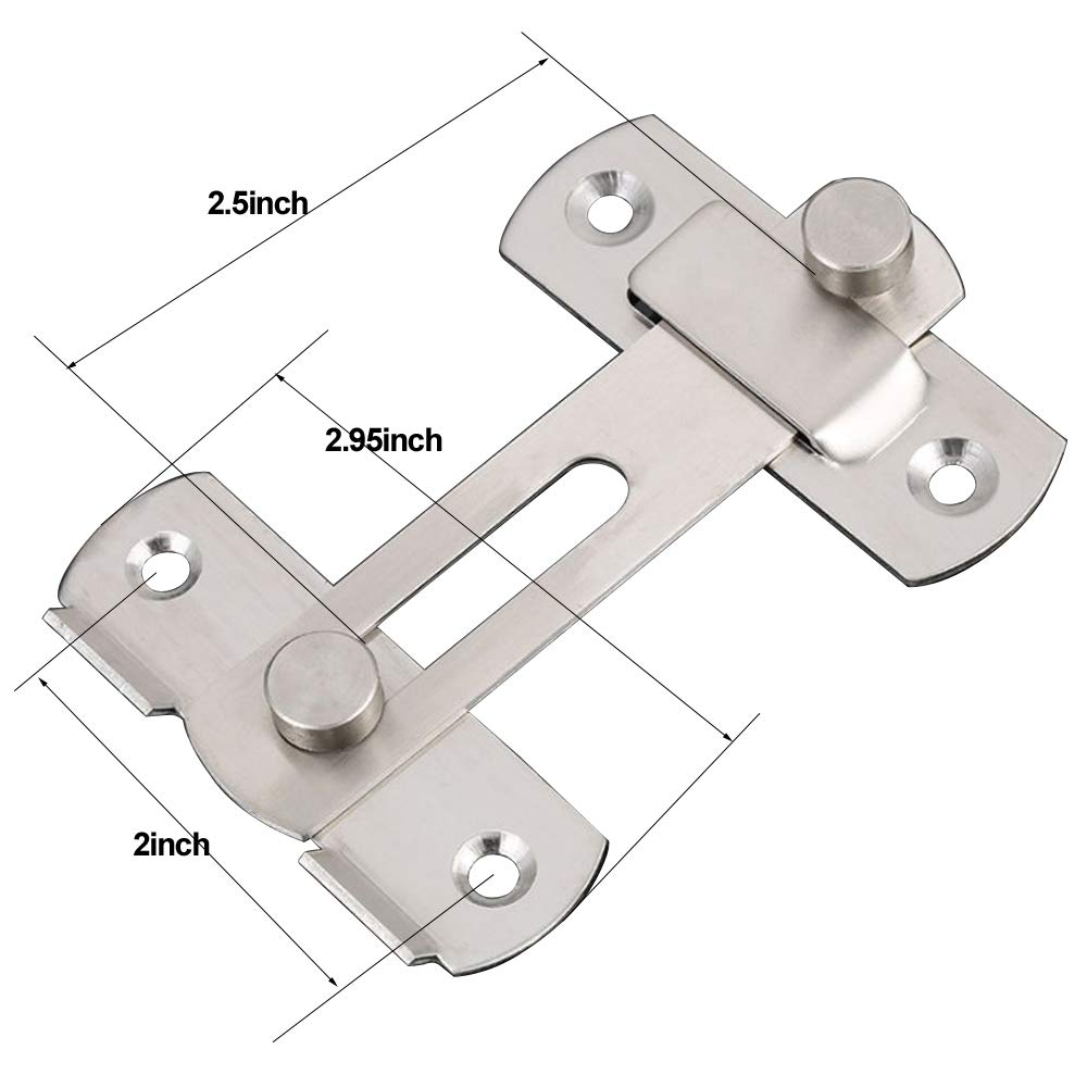 XVL Stainless Steel Flip Latch Gate Latches Bar Latch Safety Door Lock,Brushed Finish M107A by XVL (Image #2)