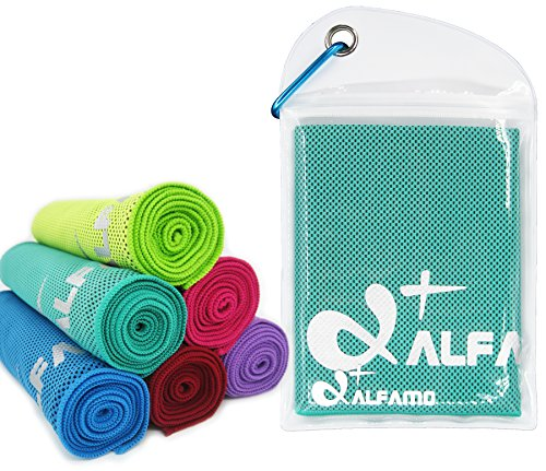 Cooling Towel for Instant Relief - 40' Long As Scarf - XL Ultra Soft Breathable Mesh Yoga Towel - Keep Cool for Running Biking Hiking Golf & All Other Sports, Waterproof Bag Packaging with Carabiner