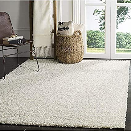 Ladole Rugs Off White Shaggy Solid Plain Area Rug Carpet Mat 5 Feet Round Circular Circle for Living Room Bedroom Patio Decoration
