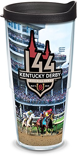 Tervis 1293964 Kentucky Derby 2018 Churchill Downs Insulated Tumbler with Wrap and Black Lid, 24oz, Clear