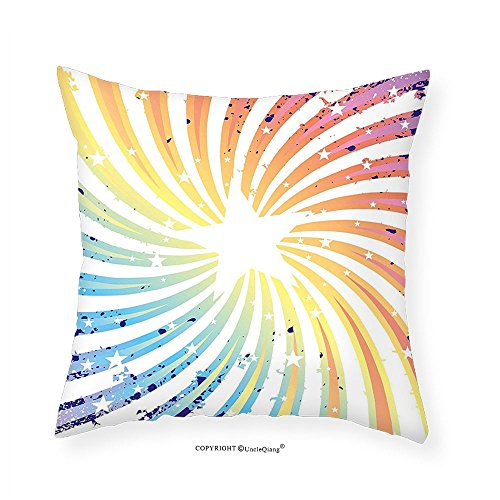 VROSELV Custom Cotton Linen Pillowcase Outer Space Colorful Spiral Starburst Illustration Grunge Design Rainbow Stripes Pattern for Bedroom Living Room Dorm Multicolored 20