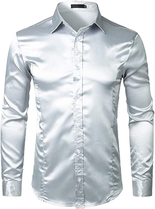 NANSHIZSCS Camisa de hombre Camisa De Vestir De Satén De Seda De Manga Larga para Hombres Camisa De Esmoquin De Boda Blanca Hombres Slim Fit Negocios Camisas Sociales Camisa, L: Amazon.es: Ropa