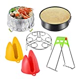 Instant Pot Accessories Set with Steamer Basket, Egg Steamer Rack, Non-stick Springform Pan, Steaming Stand, 1 Pair Silicone Cooking Pot Mitts 6 Piece fits 5,6,8 Qt Instant pot Pressure Cooker