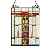 Stained Glass Lighting Window Panel 17.5 X 25'' Handcrafted