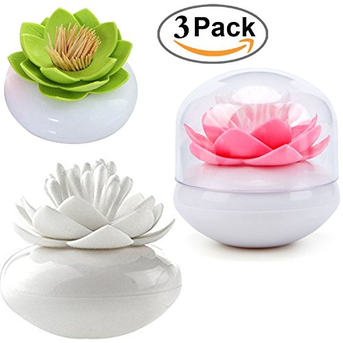HomDSim 3 PACK Lotus Cotton Swab Holder,Cotton Bud Small Q-tips Toothpicks Brushes Holder Box Case Storage Organizer Jar with Clear Lid Dustproof Cover Green Pink White by HomDSim