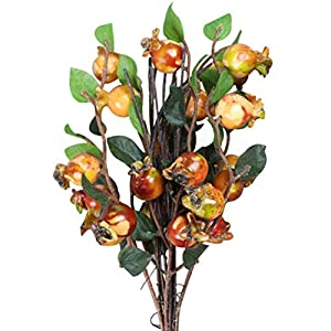 ULTNICE Group of 5 Artificial Rosehip Berries Simulation Pomegranate Fruit (Sunset Red) 18