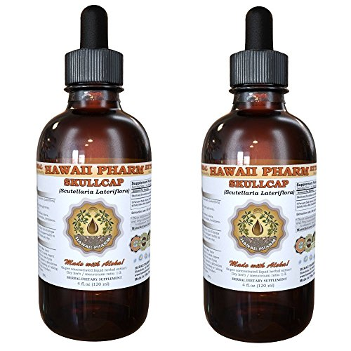 Skullcap Liquid Extract, Organic Skullcap Scutellaria lateriflora Tincture, Herbal Supplement, Hawaii Pharm, Made in USA, 2×2 fl.oz