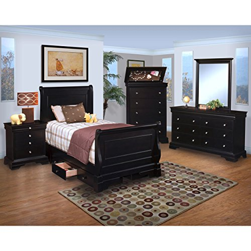 Black Hills Traditional Youth Sleigh 4 Piece Twin Bed, Nightstand, Dresser & Mirror in Black by NCF (Image #1)