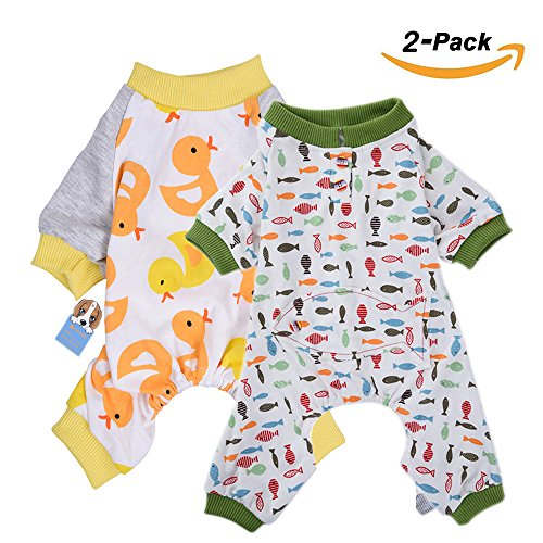 ogs Cats Onesie Soft Dog Pajamas Cotton Puppy Rompers Pet Jumpsuits Cozy Bodysuits for Small Dogs and Cats (Cozy Dog Pajamas)