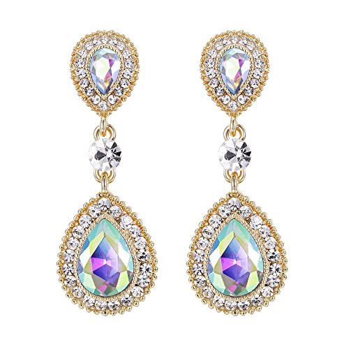 BriLove Wedding Bridal Dangle Earrings for Women Crystal Teardrop Infinity Figure 8 Earrings Iridescent AB Gold-Toned
