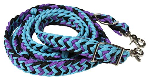 - PRORIDER Roping Knotted Horse Tack Western Barrel Reins Nylon Braided 60740