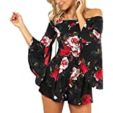 TYFeng Womens Floral Print Long Sleeve Off Shoulder Beach Romper Shorts Jumpsuit (Black, XL)