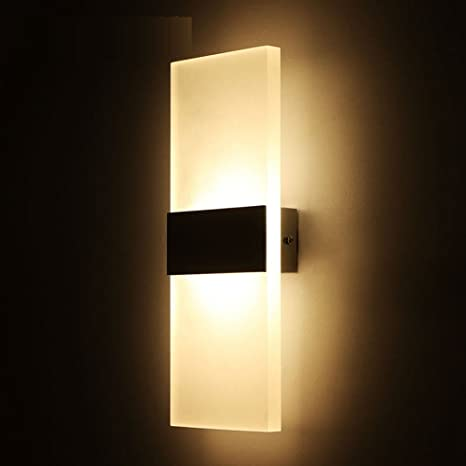 OWIKAR 6W LED Wall Light Sconces Lamp 8.66x4.33inch Small Size Fixture  Acrylic Decorative