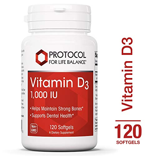 Protocol For Life Balance - Vitamin D3 1,000 IU - Supports Calcium Absorption, Bone and Dental Health, Immune System Function, Nervous System, Cognitive Function - 120 Softgels