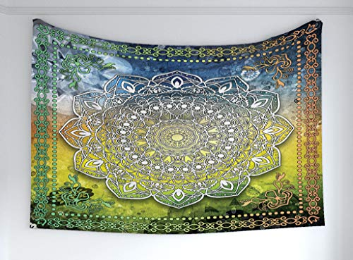 Ambesonne Ethnic Tapestry, Mystic Asian Mandala Zen Culture Chakra Karma Calmness Harmony Icon Boho Design, Fabric Wall Hanging Decor Bedroom Living Room Dorm, 90 W X 60 L Inches, Multicolor