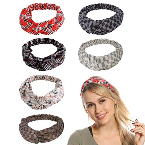 Headbands for Women,Headbands,Women Headbands Head Hair Bands - (6 Packs) Premium Satin with Grid and Stripe Printed, Fashion Vintage Criss Cross Elastic Head Wrap Hairband for Women's Hair.