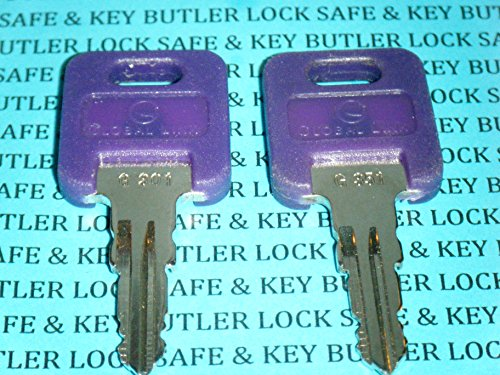 Key Global (Ilco GLOBAL LINK RVs Motorhome Trailer Keys 2 Keys Cut To Key/Lock Number From G301 To G351 Cut on Black Top KEYS FOR GLOBAL LINK LOCK (G337) Replacement Keys)