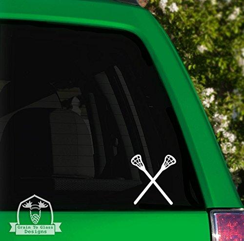 Grain To Glass Designs Lacrosse Sticks Vinyl Car Decal - 6' White