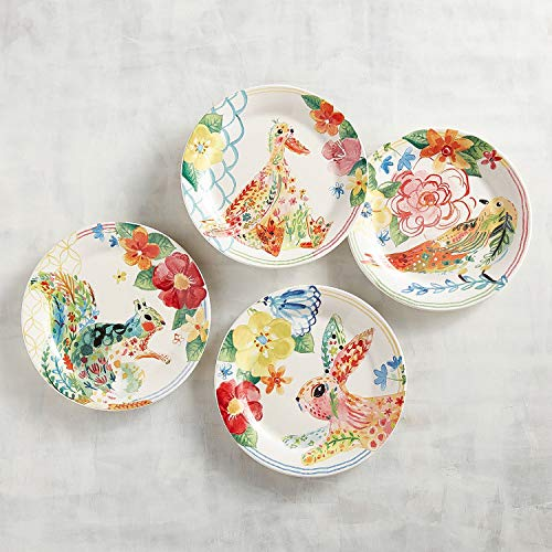 (New Pier One 4pc Panterly Critters Watercolor Bunny, Squirrel, Duck & Bird Set Appetizer Salad Plates 8