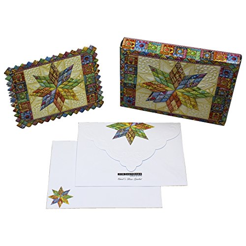 Embossed Mini Portfolio (Lonestar Quilt Embossed Set of 10 Blank Note Cards, Envelopes, and Mini Portfolio Pouch, Designed by Carol Wilson (One (1) Set))