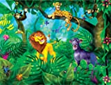 10.5-Feet wide by 8-Feet high. Prepasted robust wallpaper mural from a photo of a:A jungle with animals. Original artwork by Birgit Schulz.Our murals are easy to install remove and reuse. See video.