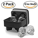 SigmaGo 3D Skull Ice Cube Mold for Whiskey - Food Grade Silicone Ice cube Tray - Large Ice Cube Ball Maker - Chocolate Nut Cake Sugar Mold Maker 100% BPA Free (2 Pack)