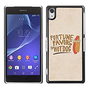 iKiki-Tech Estuche rígido para Sony Xperia Z2 L50W - Funny Fortunes Favors HotDog