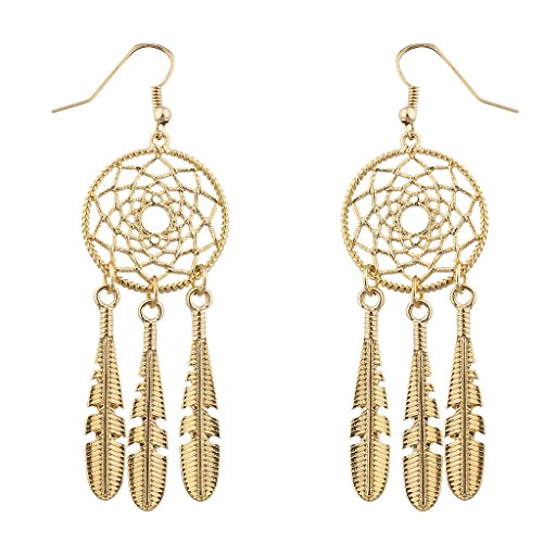 Dreamcatcher Feather Earrings (Lux Accessories Boho Gold Tone Casted Dreamcatcher Feather Dangle Earrings)