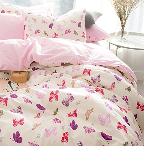 Brandream Pink Butterfly Bedding Cute Cartoon Kids Bedding Set Twin Size