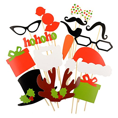 Christmas Photo Booth Props for Party, 17 PCS Favors Game for Kids & Adults New Year Decorations Mustache Sunglasses Santa Hats Photobooth kit with Sticks on Holiday Family Masquerade - On Picture Sunglasses Put
