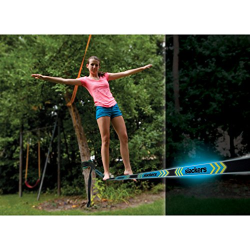 Slackers Slackers Eclipse Trick Line Slackline Kit with Teaching Line, Royal Blue, 50'