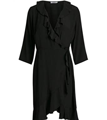 b571039c3f8d9c PIECES stylisches Rüschen Damen Mini-Kleid zum Binden Langarm Schwarz   Amazon.de  Bekleidung