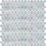 White Oyster Shell Penny Round Glass Mosaic