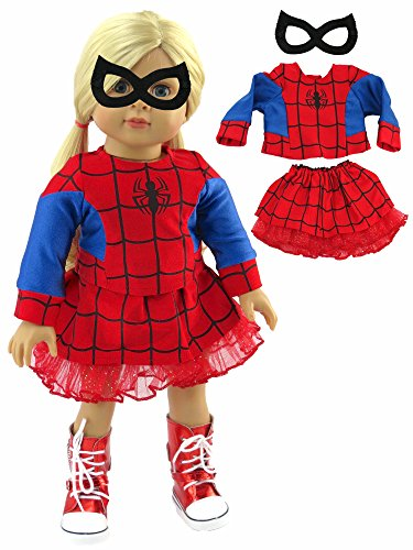 Girls Little Miss Spider Costumes (Red Little Spider Girl Halloween Costume | Fits 18