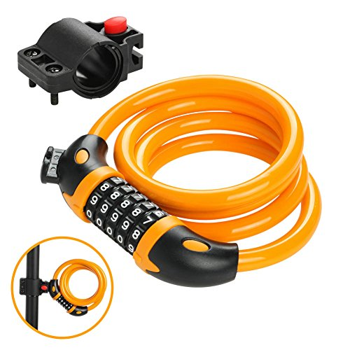Heavy Duty Bike Lock with 4ft Long Steel Wire Cable 5 Digit Resettable Combination and Mount Bracket for Mountain Bicycle Gate Fence Garage Motorcycle - Yellow