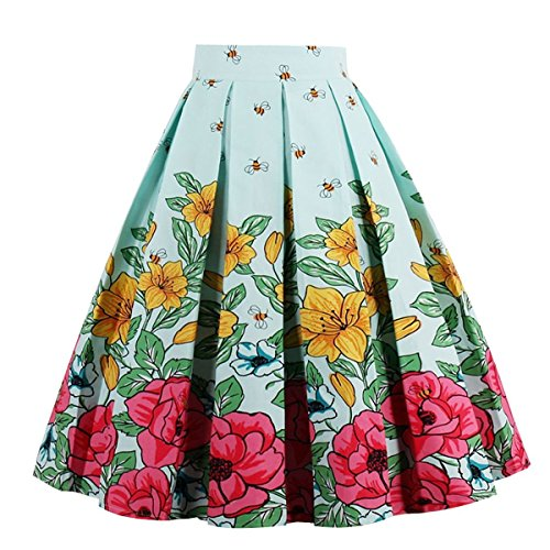 (Dresstore Women's Vintage Pleated Skirt Floral A-line Printed Midi Skirts with Pockets Bee-S)