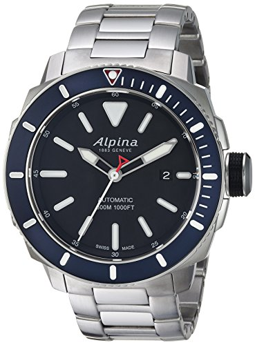 Ross Automatic Watch Bell - Alpina Men's Seastrong Swiss-Automatic Diving Watch with Stainless-Steel Strap, Silver, 0.87 (Model: AL-525LBN4V6B)