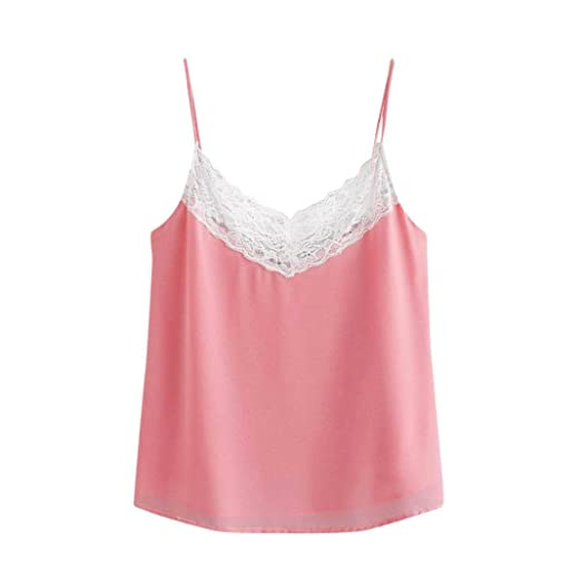 25c8ccaffc186a Amazon.com: Paymenow Hot Sale 2018 Women Cute Summer Tank Tops Loose  Spaghetti Strap Lace Patchwork Camisole Shirt Vest: Clothing