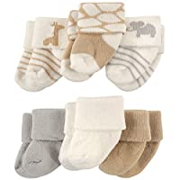 Luvable Friends Newborn Baby Socks 6 Pack, 0-3 Months, Safari