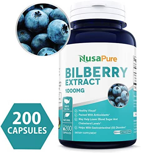 NusaPure Bilberry Extract 1000mg 200 caps (Non-GMO & Gluten Free) Premium Eye Support - Supports Healthy Circulation - Helps with Red Eyes, Irritation - Made in USA - 100% Money Back Guarantee!