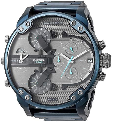 Diesel Chronograph Watch (Diesel Men's Mr Daddy 2.0 Analog-Quartz Watch with Stainless-Steel-Plated Strap, Blue, 24 (Model: DZ7414)