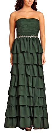 Long Frilled Evening Dresses Ball gowns Formal Elegant Classic Cocktail Bridesmaids Prom Dress ruffled diamantes Chiffon
