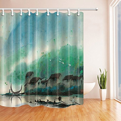 Nyngei Asian Riverside Village Decor Watercolor Water Village Boats on River Houses Mildew Resistant Polyester Fabric Shower Curtains for Bathroom Shower Curtain Hooks Included,70.8X70.8in