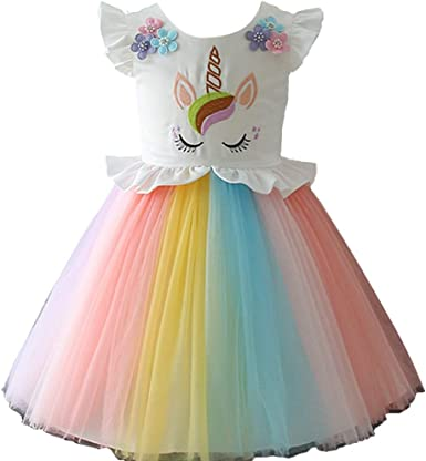 Girls Unicorn Costume Dress Princess Flowers Rainbow Dresses up Child Cosplay Wedding Party Tutu Sleeveless Fancy Up 2 years