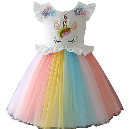 yeesn Niñas Princesa Unicornio Arcoiris Tutu Traje Vestido de Baile de Tul Verano sin Mangas Cosplay Fiesta de cumpleaños Fancy hasta Vestido (3 - 4 ...