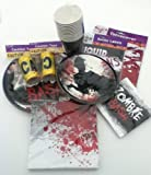 Zombie Party Pack (71 Pieces) Tableware/Tablecloth/Caution Tape/ Drink Bottle Labels/Party Supplies/ Birthday