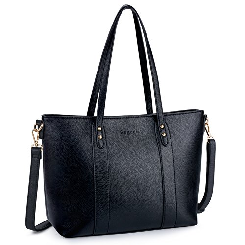 Bageek Tote Bags for Women Pu Leather Tote Purses Black Purses and Handbags Women Classic Tote Work Bag ()