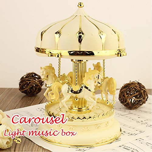 AMOFINY Fashion Baby Toys New New Octave Light Carousel Music Box Christmas Birthday Gift Carousel Music ()