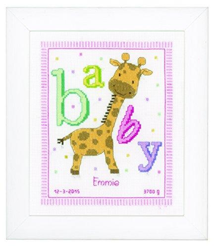 Vervaco Baby Giraffe Birth Sampler Cross Stitch Kit