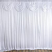 Efavormart 20ft x 10ft Classic Double Drape Party Wedding Backdrop,Photography Background - White
